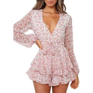 Women's Long Bubble Sleeve floral Romper jumpsuit